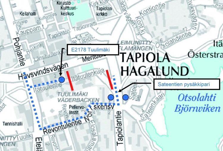 Lähibussien poikkeusreitti Tapiolassa 2.1.2017 alkaen