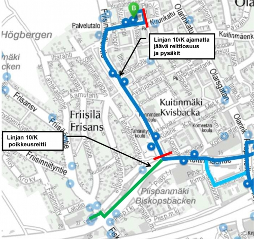 Linja 10 poikkeusreitillä Kuitinmäessä 28.11. alkaen | HSL