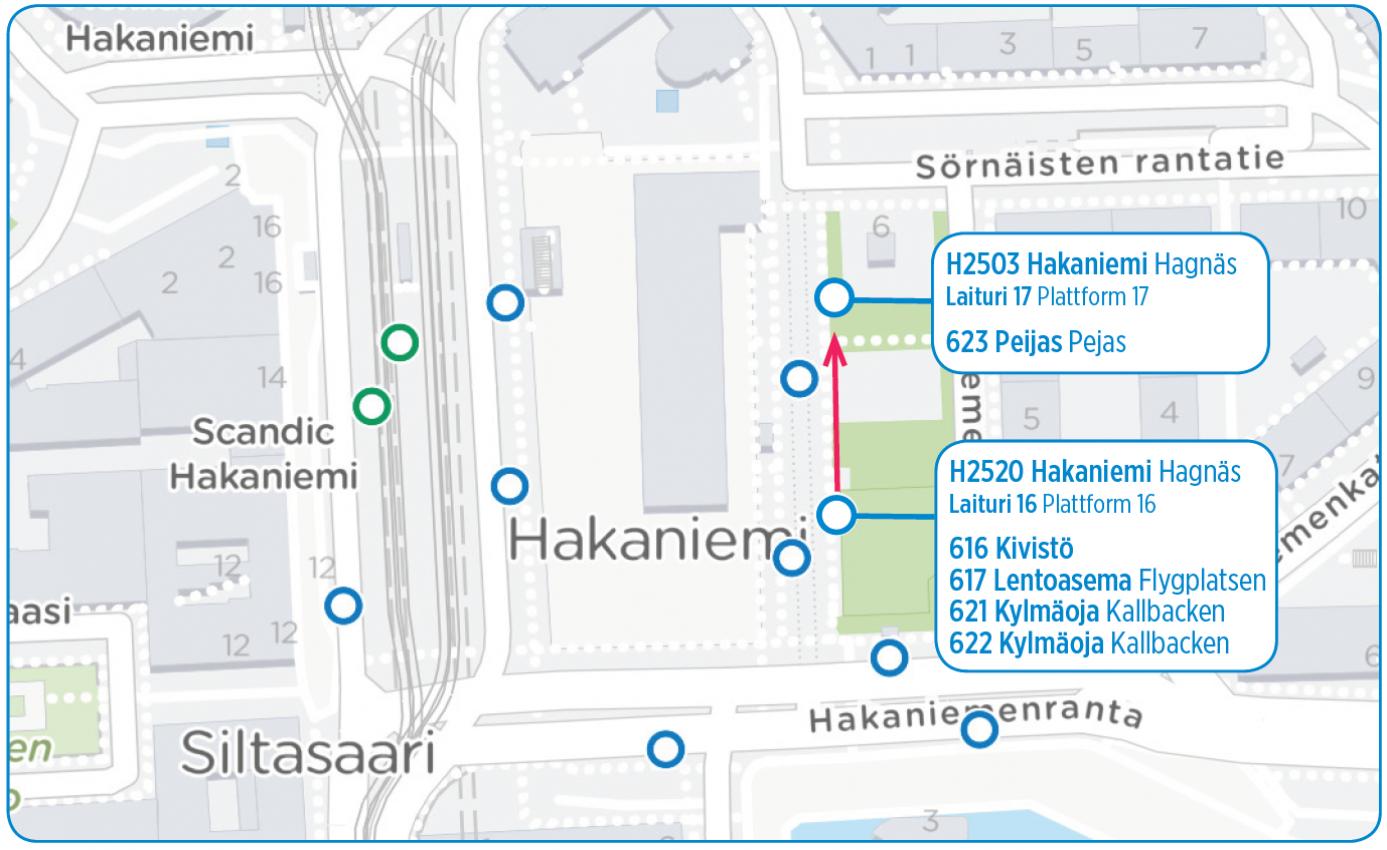 Linjan 623 lähtöpysäkki siirtyy Hakaniemessä 10.7.
