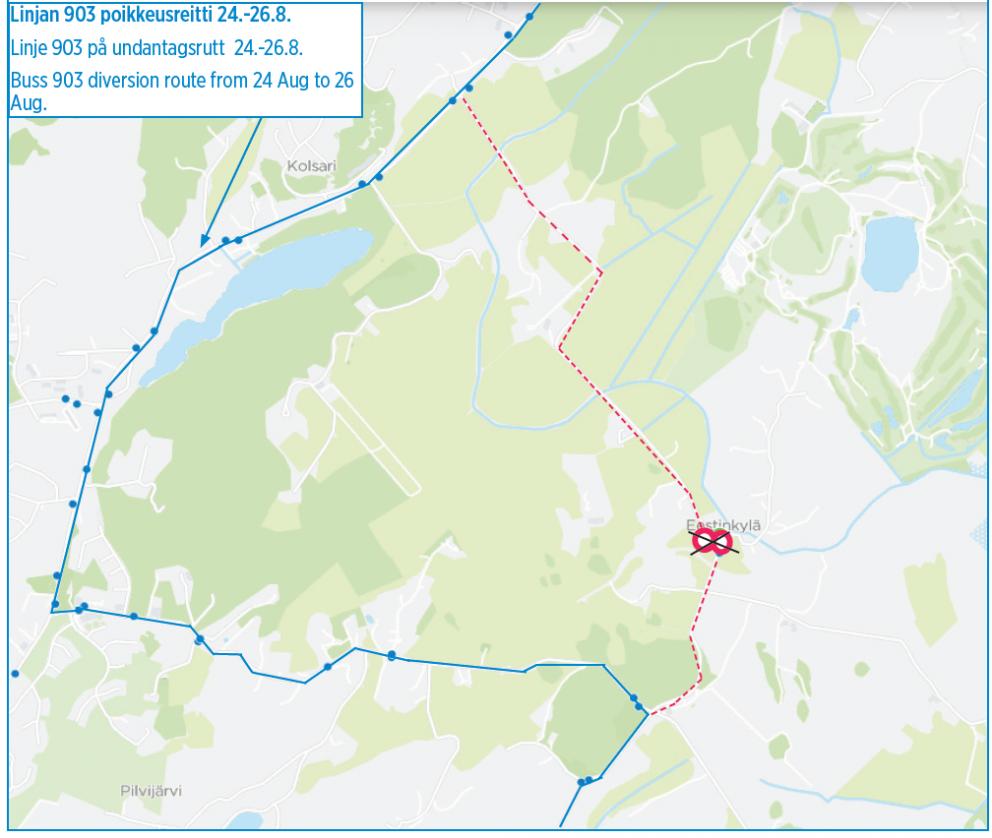 Linja 903 poikkeusreitillä ma-ke 24.-26.8.