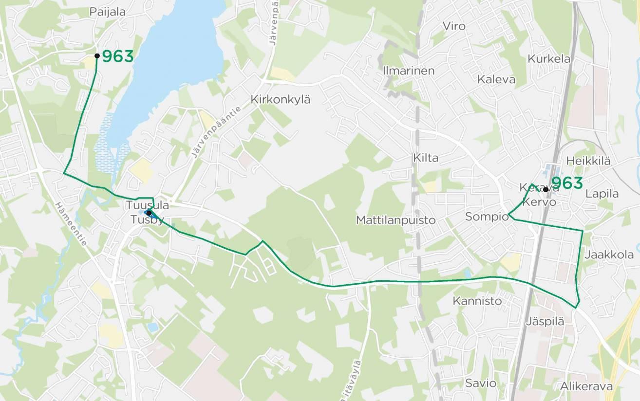 Linjan 963 Paijala - Hyrylä - Rykmentinpuisto - Kerava reitti