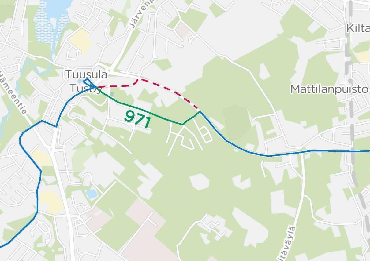 Linjan 971 reitti Rykmentinpuiston kautta