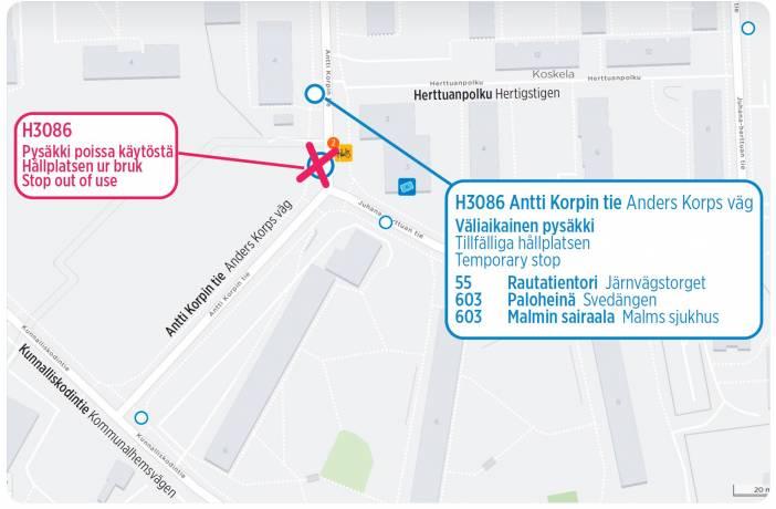 Pysäkki Antti Korpin tie kartalla tekstin mukaisesti