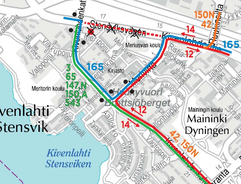 Changes To Bus Routes And Timetables In Kivenlahti From 4 January