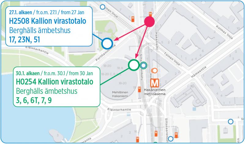 Kartta Kallion virastotalon pysäkkijärjestelyistä 27.1. ja 30.1. alkaen