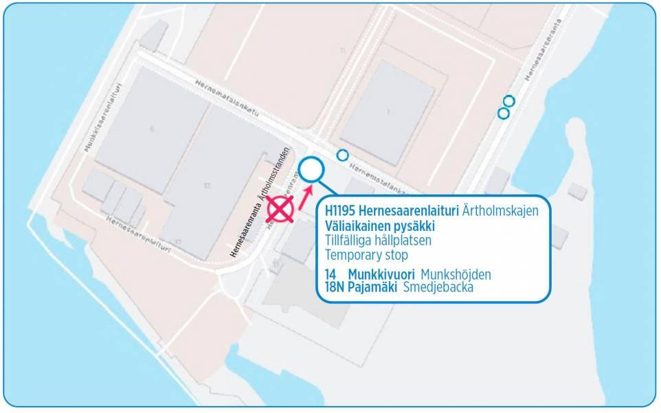 Pysäkin Hernesaarenlaituri H1195 uusi sijainti tekstin mukaisesti kartalla