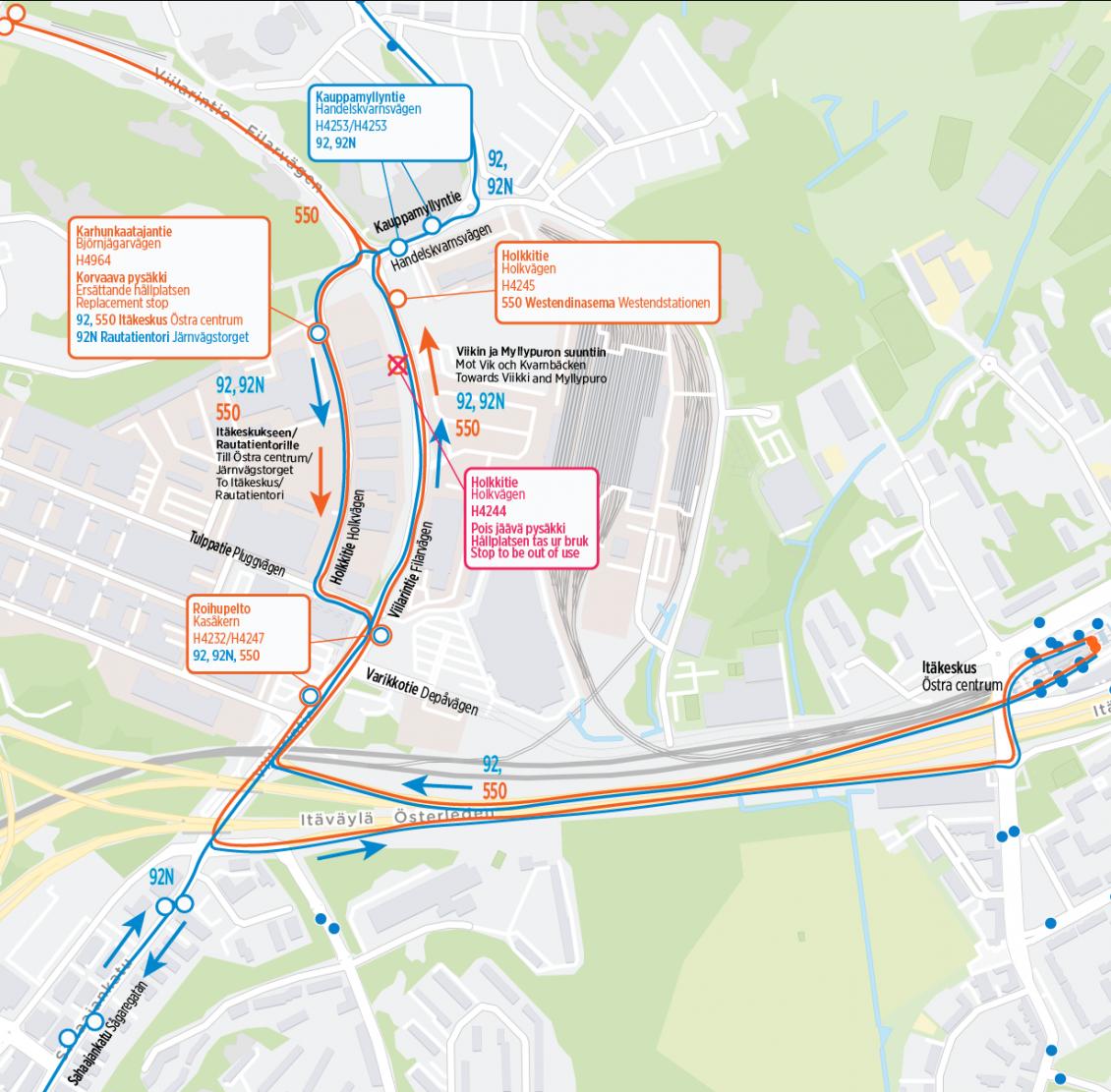 Linjojen 92, 92N ja 550 reittimuutos kartalla tekstin mukaisesti