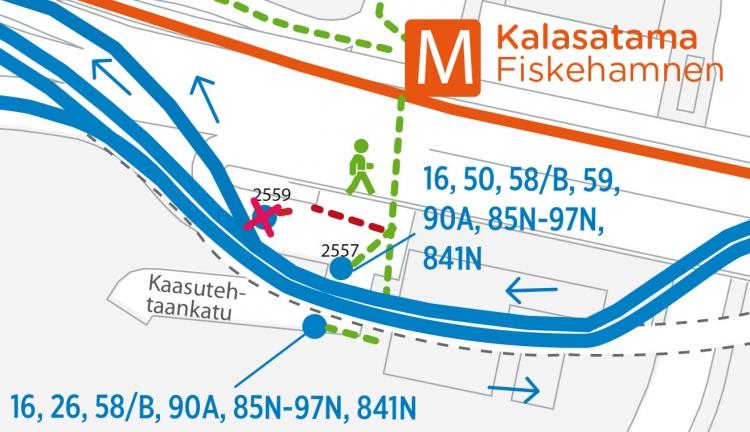 Kalasataman metroaseman pysäkit Itäväylällä 7.11.2016 alkaen