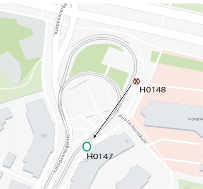 Korppaanmäki lähtöpysäkki linja 10 ma-pe 31.8-4.9.
