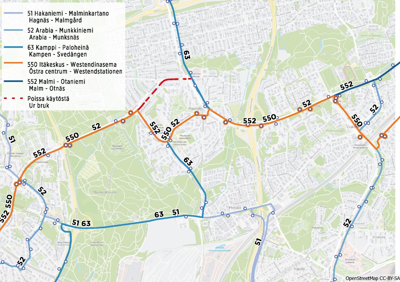 Kartta bussien poikkeusreiteistä ja pysäkeistä Maunulan alueella 4.3.2019 alkaen