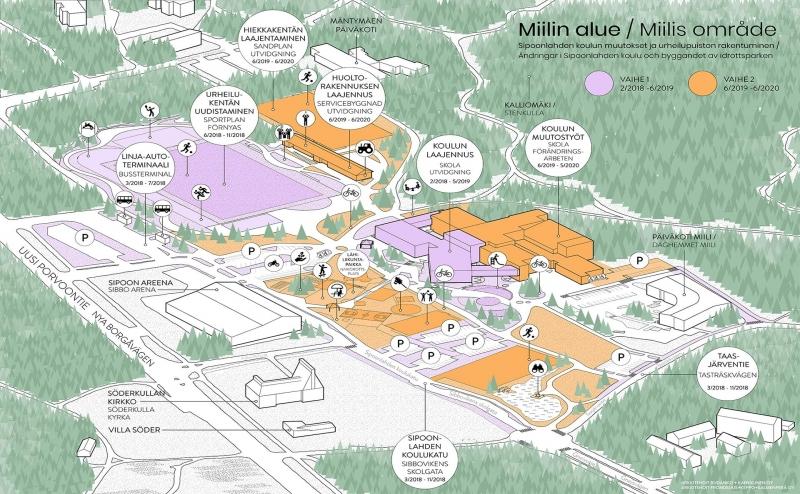 Uusi kääntöpaikka sijaitsee Uuden Porvoontien välittömässä läheisyydessä, Ingman areenan länsireunalla