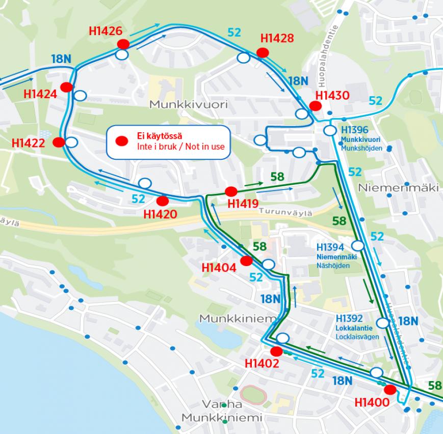 Bussit 18N, 52 ja 58 poikkeusreitillä 17.-18.7. välisenä yönä klo 21-4.30
