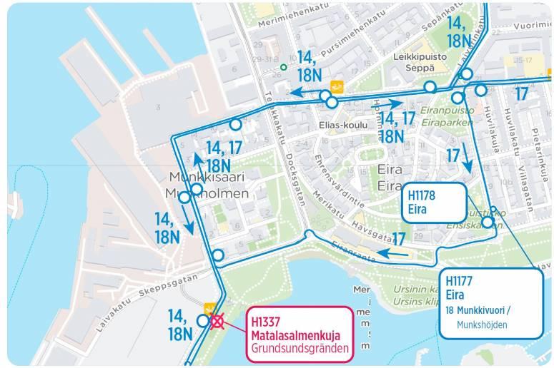 Munkkisaaren alueen reitit kartalla tekstin mukaisesti 19.10. alkaen
