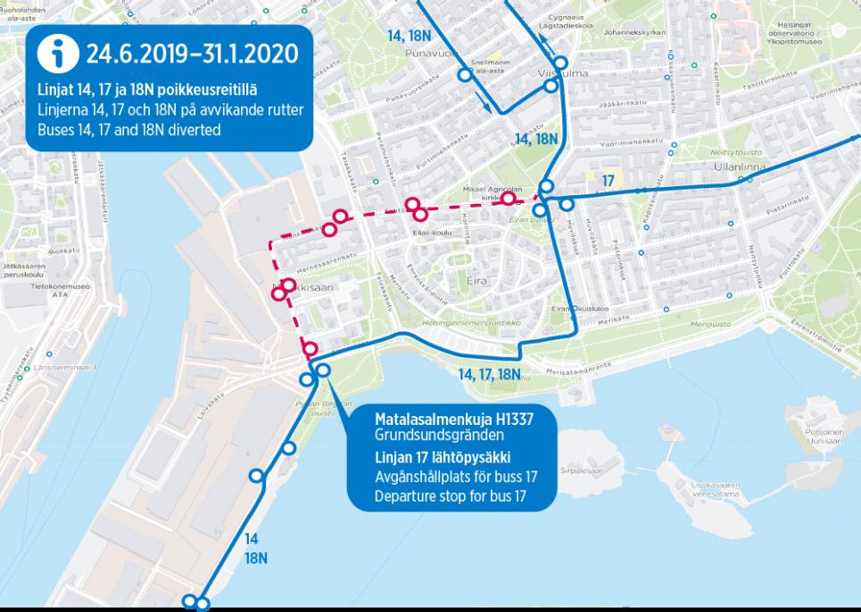 Linjojen 14, 17 ja 18N poikkeusreitti jatkuu 31.12. asti Munkkisaarenkadun työmaiden vuoksi.