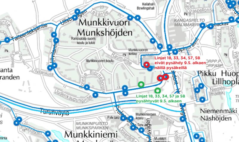 Bussien pysäkit Munkkivuoressa 9.5.alkaen.