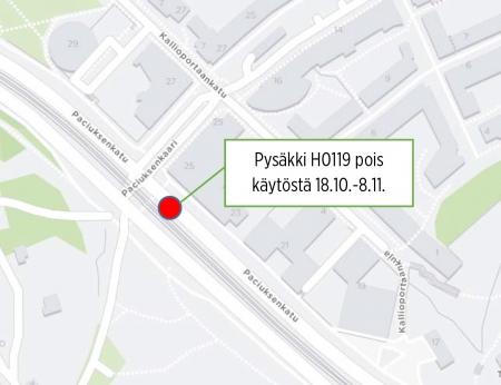 Meilahdessa raitiolinjan 4 pysäkki Paciuksenkaari H0119 poissa käytöstä 18.10.-8.11.   HSL