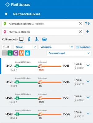 Reittioppaan näkymä: reittiehdotukset ilman bussiyhteyksiä