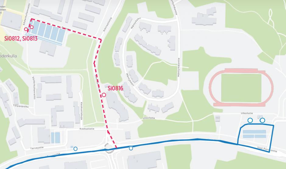 992 linjan reitti muuttuu söderkullassa. Opintien terminaaliin ei ajeta 10.8 alkaen.