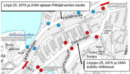 Bussien 25, 247A ja 248A poikkeusreitti 2.-8.3.2015 Pitkäjärventien kautta