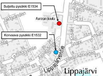 Lippajärventien pysäkki E1534 poissa käytöstä 9.3.2015-16.8.2016