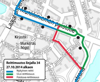 Linjan H34 poikkeusreitti pysyväksi reitiksi 27.10.2014