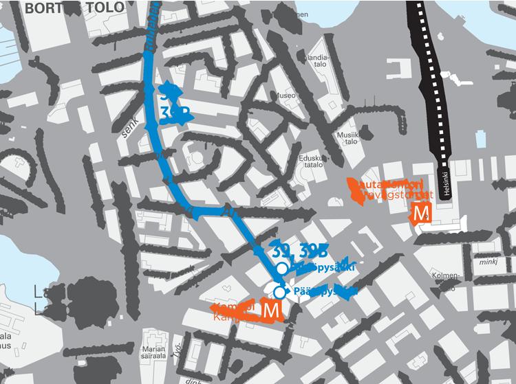 Linjojen 39 ja 39B reitti Kampissa 15.8.2016 alkaen