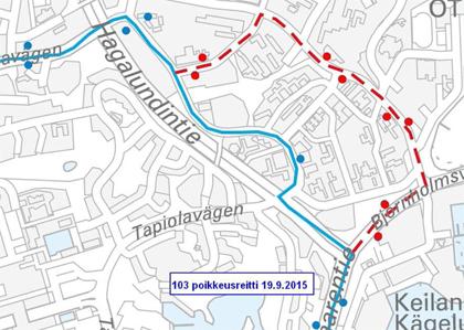 Linja 103 poikkeusreitillä Otaniemessä 19.9.2015