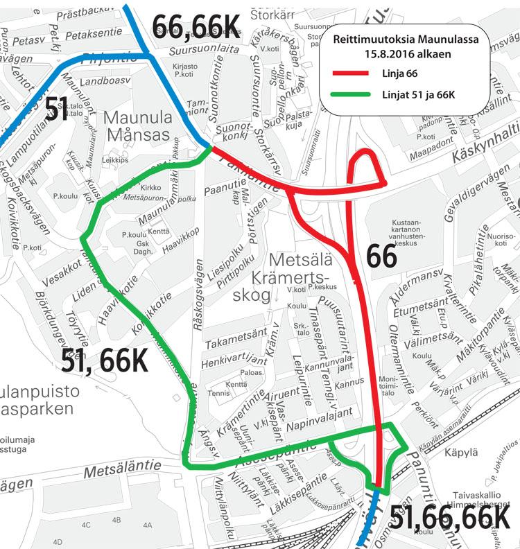 Muutokset Maunulan bussilinjoihin 15.8.2016