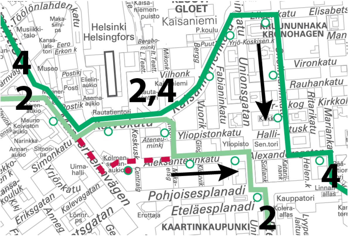 Raitiolinjat 2 ja 4 poikkeusreitillä Olympiaterminaalin ja Munkkiniemen suuntaan 12.5.-13.5. ja 13.5.-14.5. välisinä öinä.