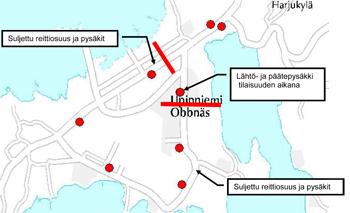 Bussin 173 poikkeusreitti Upinniemessä 13.2.2015