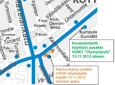 Pysäkkimuutoksia Koskelantiellä 13.11.2013