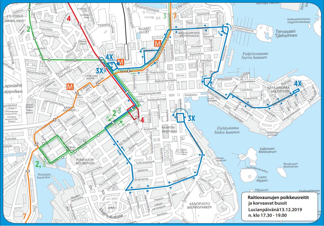 Karttakuva raitiolinjojen 2, 3, 4 ja 7 poikkeusreiteistä perjantaina 13.12. klo 17.30-19