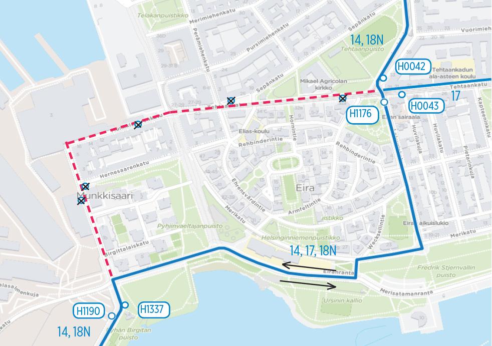Linjat 11,17 ja 18N poikkeusreitille Munkkisaari ohitetaan 1.7 alkaen