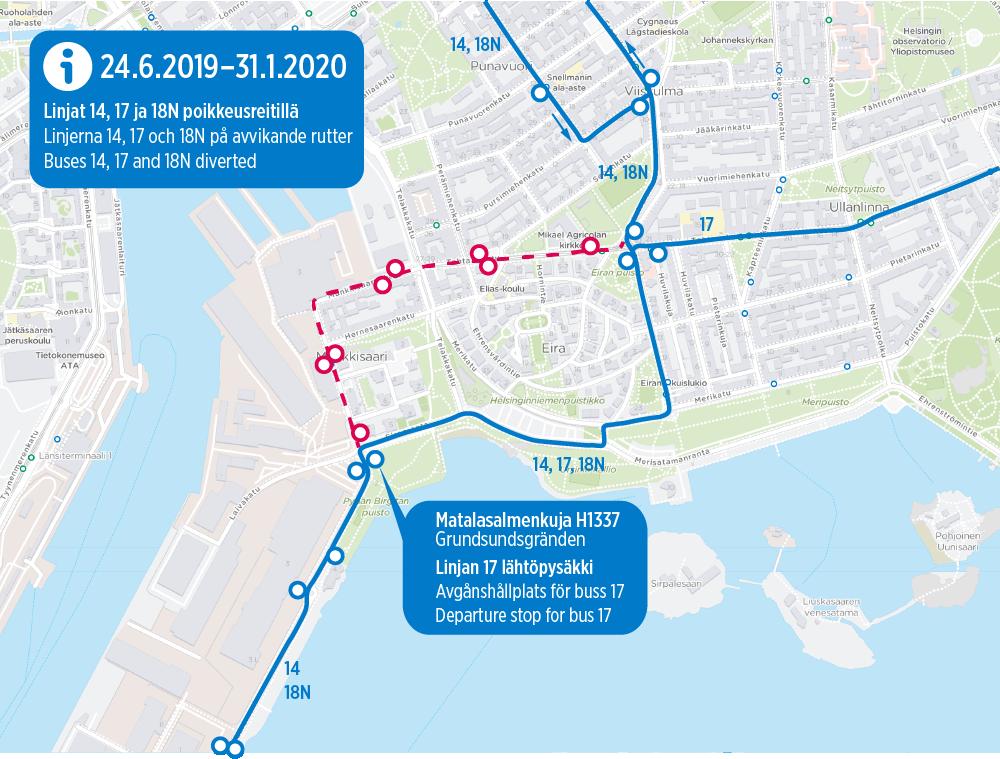 Linjat 14, 17 ja 18N poikkeusreitillä 24.6.-29.9.