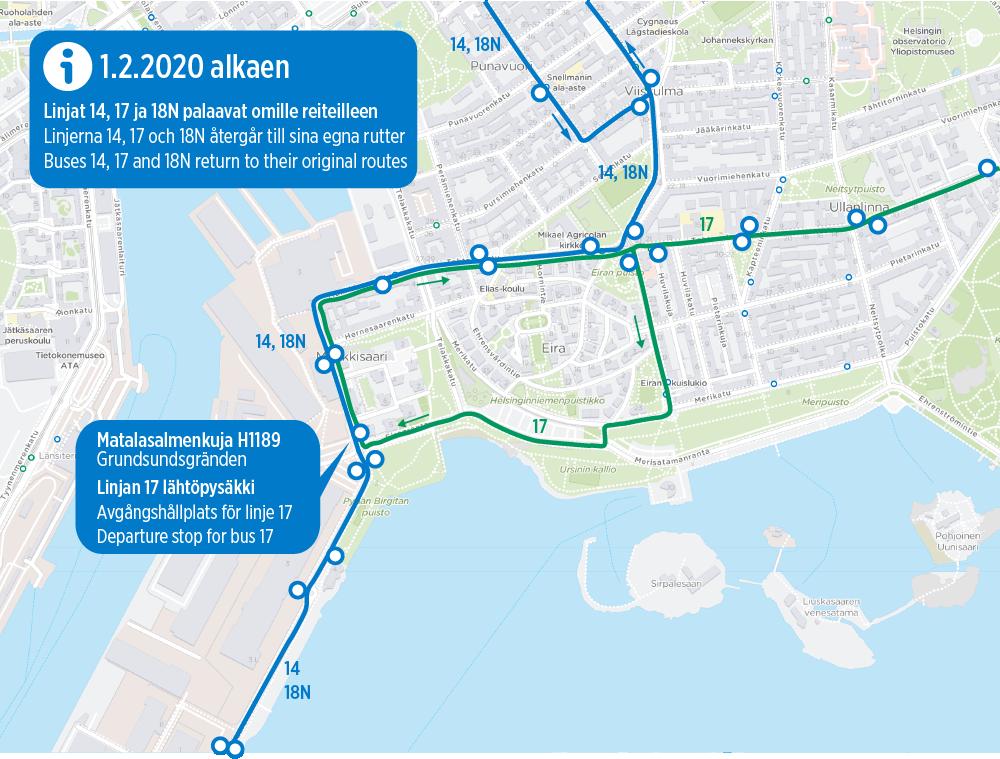 Kartta linjojen 14, 17 ja 18N uusista reiteistä 1.2.2020 alkaen