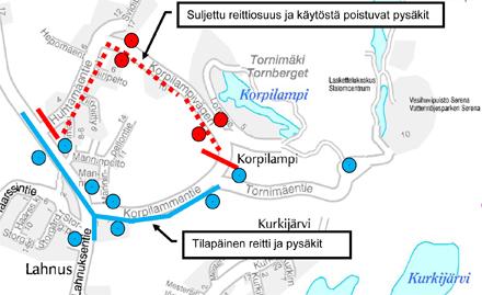 Tilapäinen reittimuutos 15.1.-1.10.2014