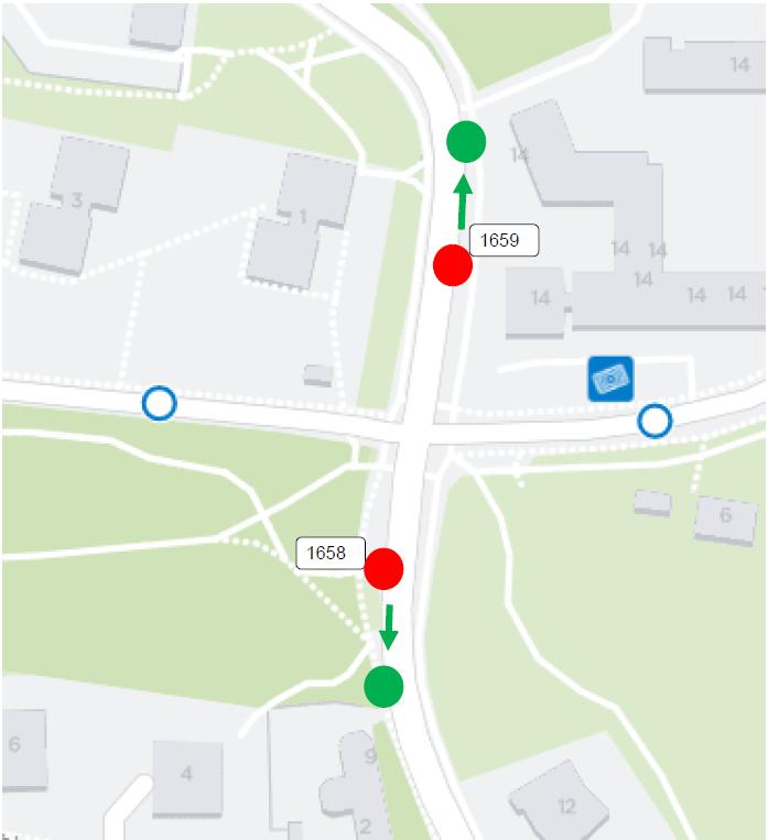 Ida Aalbergin tien pysäkit H1658 ja H1659 siirtyvät torstaina 16.5. 50 metriä normaaleilta paikoiltaan.