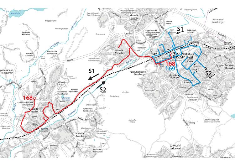 Linjojen 168 ja 169 reitit 10.8. alkaen