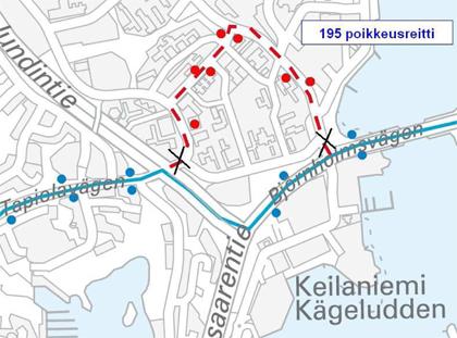 Linja 195 poikkeusreitillä Otaniemessä 19.9.2015