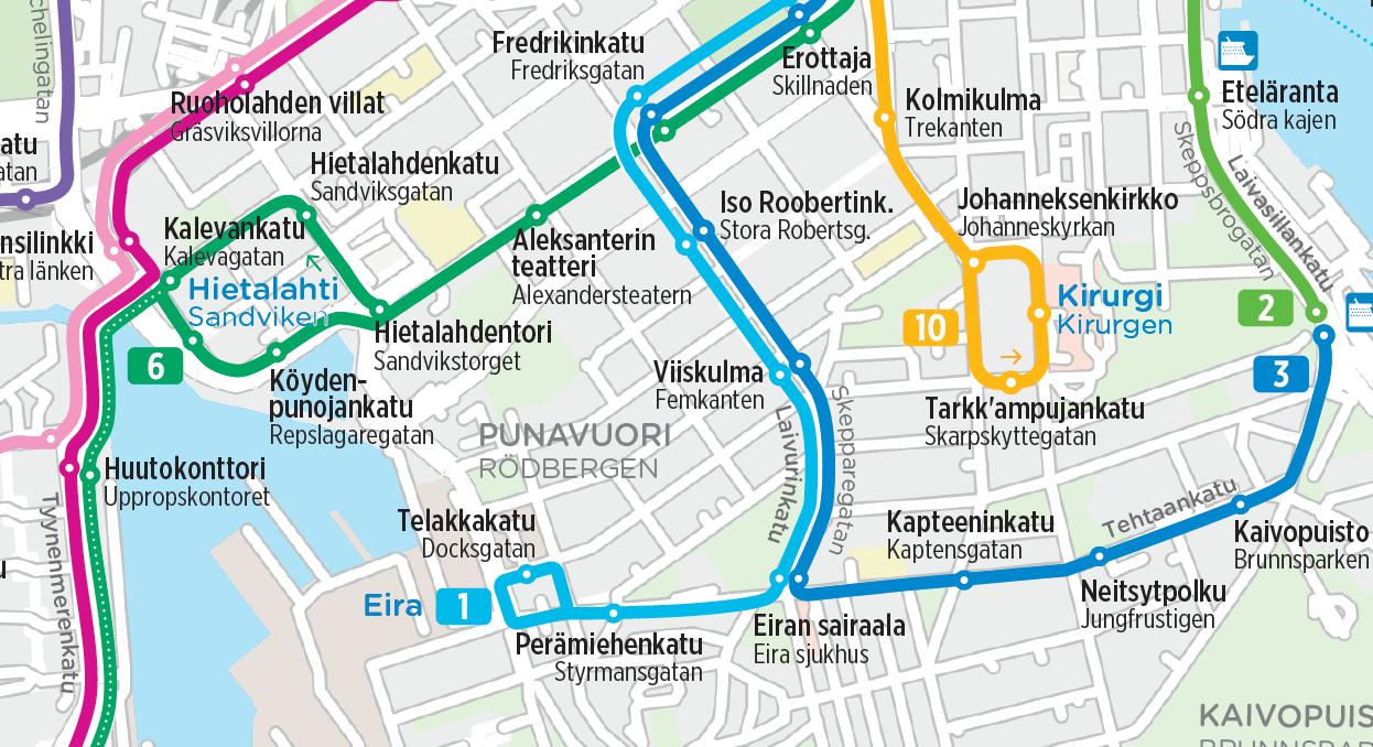 Raitiolinja 1 omalle reitilleen Eiraan 30.9. alkaen