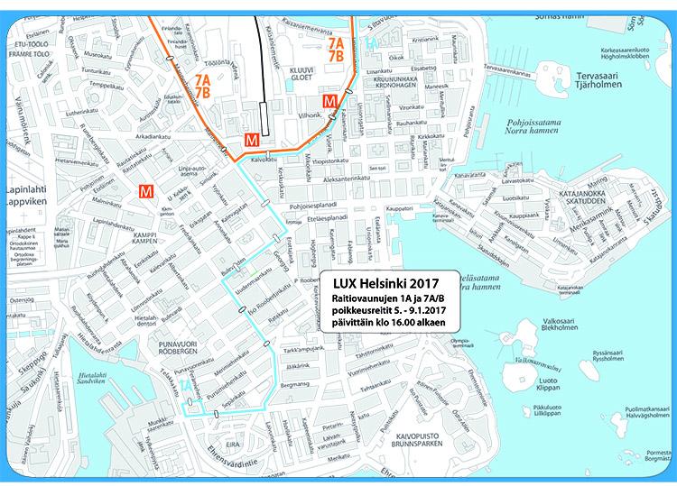 Raitiovaunujen poikkeusreitit Lux Helsinki -festivaalin aikana 5.-9.1. päivittäin klo 16 alkaen