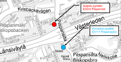 Piispansillan pysäkki pois käytöstä 1.-17.4.2014