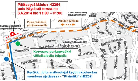 Bussien 66 ja 66A päätepysäkki pois käytöstä 3.4.