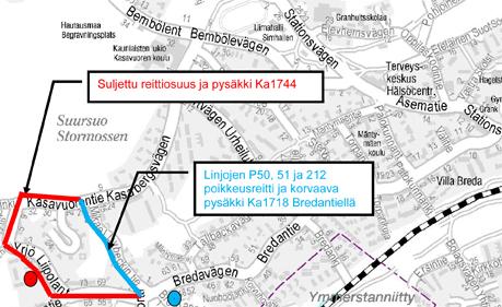 Bussien P50, 51 ja 212 poikkeusreitti Kasavuoressa