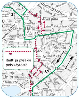 Raitiolinjat 3 ja 9 ajavat Hämeentien kautta yöllä 19.-20.10.2015
