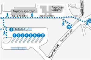 Tapiolan palvelulinjojen lähtölaituri Tapionaukiolla muuttuu 30.3.2015