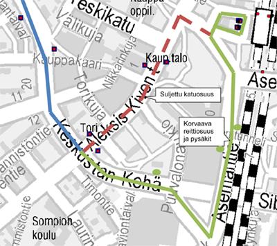 Bussit 5, 633 ja 973L poikkeusreitillä 19.4. Keravan keskustassa