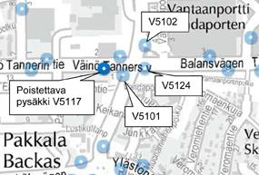 Pysäkki V5117 Pakkalankuja poistetaan käytöstä viikolla 18.