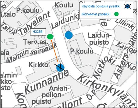 Pysäkki H3266 Malmin sairaala pois käytöstä 4.5.2015 alkaen