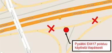 Suomenojan pysäkki E4417 pois käytöstä 7.5.2015 klo 23 alkaen
